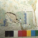 Kammer 1.1.7 mittlerer Wandbereich, hier Fassungen 7 bis 14, teilweise schlecht erhalten und nicht bestimmbar