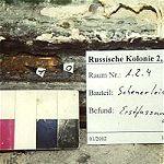 Kammer 1.2.4, Leiste der Ostwand vermutlich nicht bauzeitlich, die erste Fassung ist Braun, es gibt weitere Farbfassungen