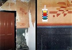 Flur, Fassung XII nach der Tapetenentfernung, links Gesamtbild, rechts ein Ausschnitt im Grenzbereich von Sockel- zu Wandfarbton