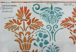 Gartenzimmer, vom Restaurator nachgezeichnete Wanddekoration aus Fassung V,