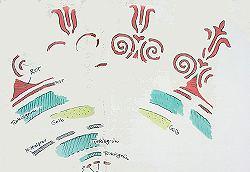Hofgartenzimmer, Deckenmittelverziehrung, Ornamentkranz aus den Farben Rot, Gelb, Türkisgrün, Orangerot und Mittelgrau