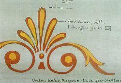 Hofgartenzimmer, Ornamentfries der Fassung I an der Wand in den Farben Goldocker und Gelb
