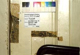 EG, Tür von der Stube (1.1.3, Südwand) zur Kammer (1.1.4), Türblatt bauzeitlich, schwarze, trapezförmige Absetzungen im Bereich der Türklinke