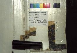 EG, Tür der Kammer-Nordwand (1.1.4), Erstfassung, schwarze Absetzungen im Bereich des Kastenschlosses sichtbar