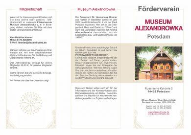 Flyer Förderverein Museum Alexandrowka